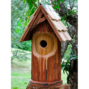 The Woodcutter Bird House - Antique Cypress/Shingled Roof