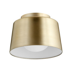 Aged Brass 11-Inch One-Light Trapeze Flush Mount