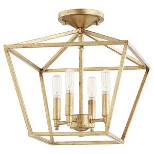 Gabriel Gold Leaf Four-Light Dual Mount Pendant