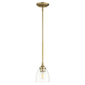 Enclave Aged Brass with Clear Six-Inch One-Light Mini Pendant