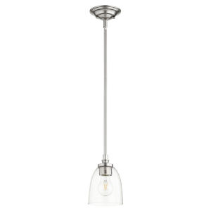 Rossington Satin Nickel with Clear Five-Inch One-Light Mini Pendant