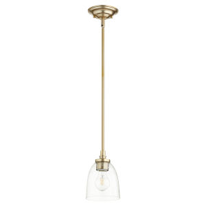 Rossington Aged Brass with Clear Five-Inch One-Light Mini Pendant