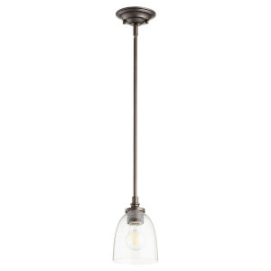 Rossington Oiled Bronze with Clear Five-Inch One-Light Mini Pendant