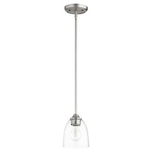 Jardin Satin Nickel with Clear Six-Inch One-Light Mini Pendant