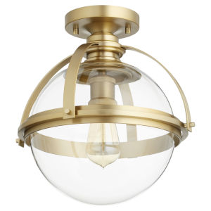 Aged Brass One-Light Semi-Flush Mount