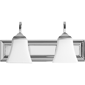 Polished Nickel and Satin Opal Two-Light Vanity