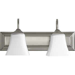 Satin Nickel and Satin Opal 18-Inch Two-Light Vanity