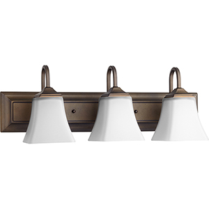Oiled Bronze and Satin Opal 7-Inch Three-Light Vanity