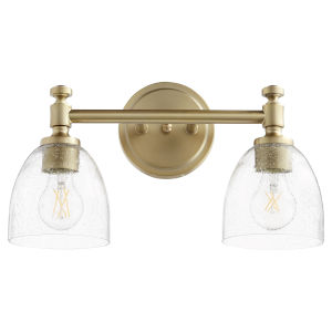 Rossington Aged Brass and Clear Seeded Two-Light Bath Vanity