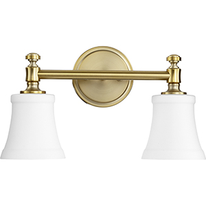 Rossington Aged Brass and Satin Opal Two-Light Vanity