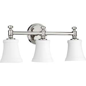 Rossington Polished Nickel and Satin Opal Three-Light Vanity