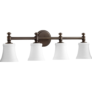 Rossington Oiled Bronze and Satin Opal Four-Light Vanity