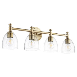 Rossington Aged Brass and Clear Seeded Four-Light Bath Vanity