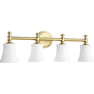 Rossington Aged Brass and Satin Opal Four-Light Vanity