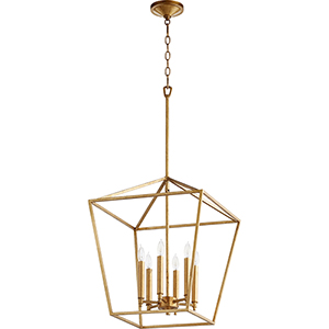 Gabriel Gold Leaf 17-Inch Six-Light Pendant
