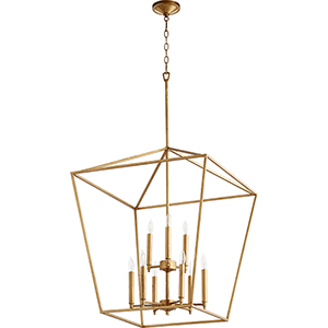 Gabriel Gold Leaf Nine-Light Pendant