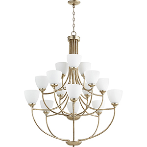 Enclave Aged Silver Leaf 15-Light Chandelier