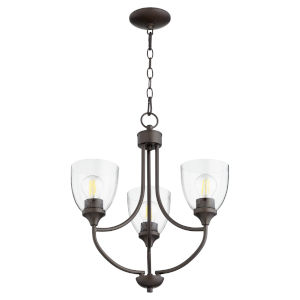 Enclave Oiled Bronze with Clear 19-Inch Three-Light Chandelier