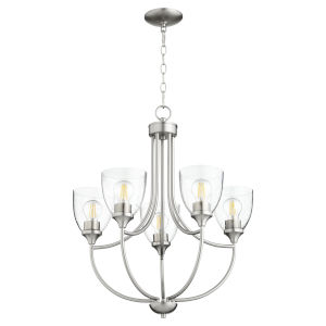 Enclave Satin Nickel with Clear 24-Inch Five-Light Chandelier