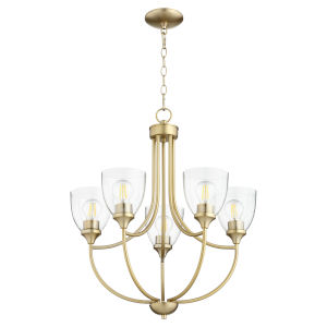 Enclave Aged Brass with Clear 24-Inch Five-Light Chandelier