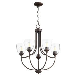 Enclave Oiled Bronze with Clear 24-Inch Five-Light Chandelier