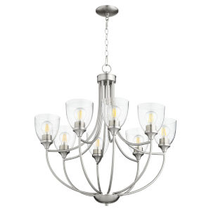 Enclave Satin Nickel with Clear 30-Inch Eight-Light Chandelier