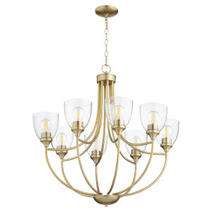 Enclave Aged Brass with Clear 30-Inch Eight-Light Chandelier
