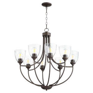 Enclave Oiled Bronze with Clear 30-Inch Eight-Light Chandelier