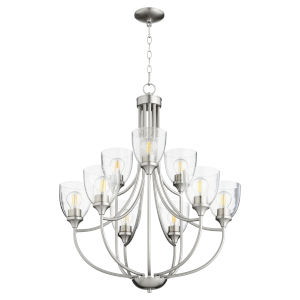 Enclave Satin Nickel with Clear 27-Inch Nine-Light Chandelier