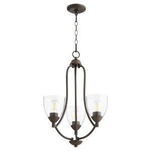 Barkley Oiled Bronze with Clear 18-Inch Three-Light Chandelier