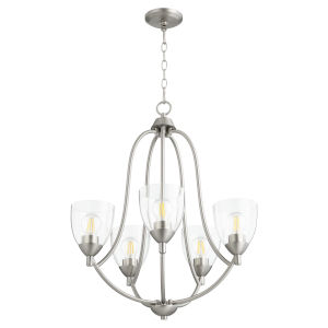 Barkley Satin Nickel with Clear 24-Inch Five-Light Chandelier