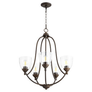 Barkley Oiled Bronze with Clear 24-Inch Five-Light Chandelier