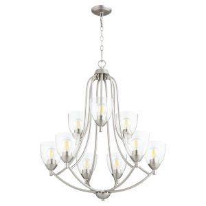 Barkley Satin Nickel with Clear 27-Inch Nine-Light Chandelier