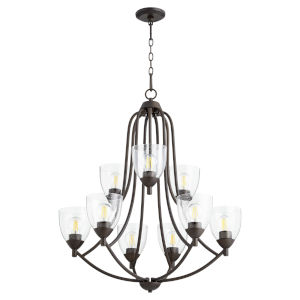 Barkley Oiled Bronze with Clear 27-Inch Nine-Light Chandelier