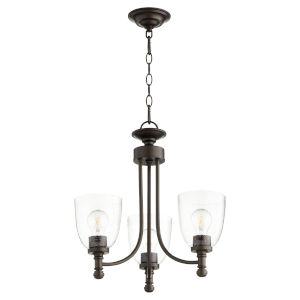 Rossington Oiled Bronze with Clear 18-Inch Three-Light Chandelier