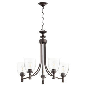 Rossington Oiled Bronze with Clear 25-Inch Five-Light Chandelier