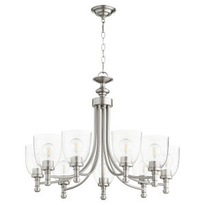 Rossington Satin Nickel with Clear 31-Inch Nine-Light Chandelier