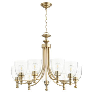 Rossington Aged Brass with Clear 31-Inch Nine-Light Chandelier