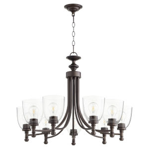 Rossington Oiled Bronze with Clear 31-Inch Nine-Light Chandelier