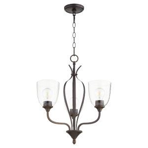 Jardin Oiled Bronze with Clear 20-Inch Three-Light Chandelier