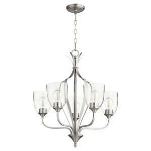 Jardin Satin Nickel with Clear 24-Inch Five-Light Chandelier