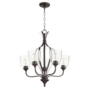 Jardin Oiled Bronze with Clear 24-Inch Five-Light Chandelier