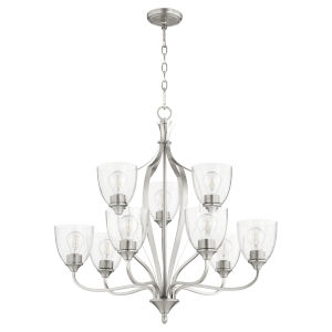 Jardin Satin Nickel and Clear Seeded Nine-Light Chandelier