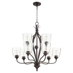 Jardin Oiled Bronze with Clear 30-Inch Nine-Light Chandelier