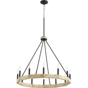 Alpine Black With Driftwood Finish 12-Light Chandelier