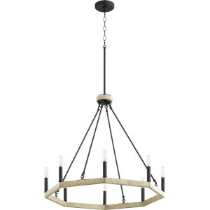 Alpine Black With Driftwood Finish Eight-Light Chandelier