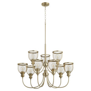 Omni Aged Brass 32-Inch Nine-Light Chandelier