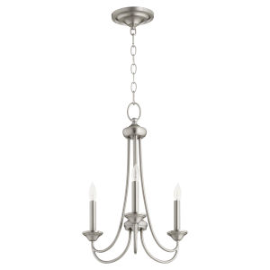 Brooks Satin Nickel 16-Inch Three-Light Chandelier