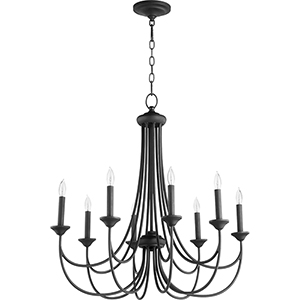 Brooks Black Eight-Light Chandelier
