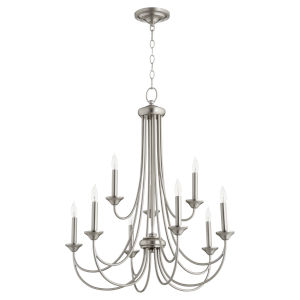 Brooks Satin Nickel 29-Inch Nine-Light Chandelier